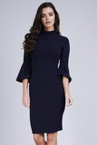 Navy 3/4 Bell Sleeve Midi Dress