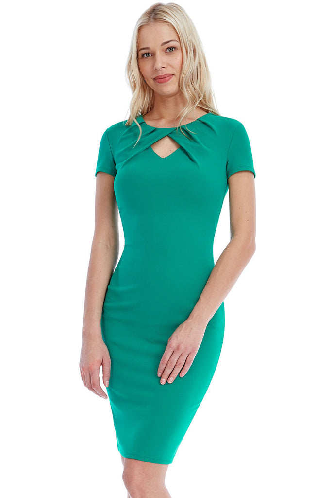 'Women''s JADE Short Sleeve PLEAT KEYHOLE MIDI DRESS  '