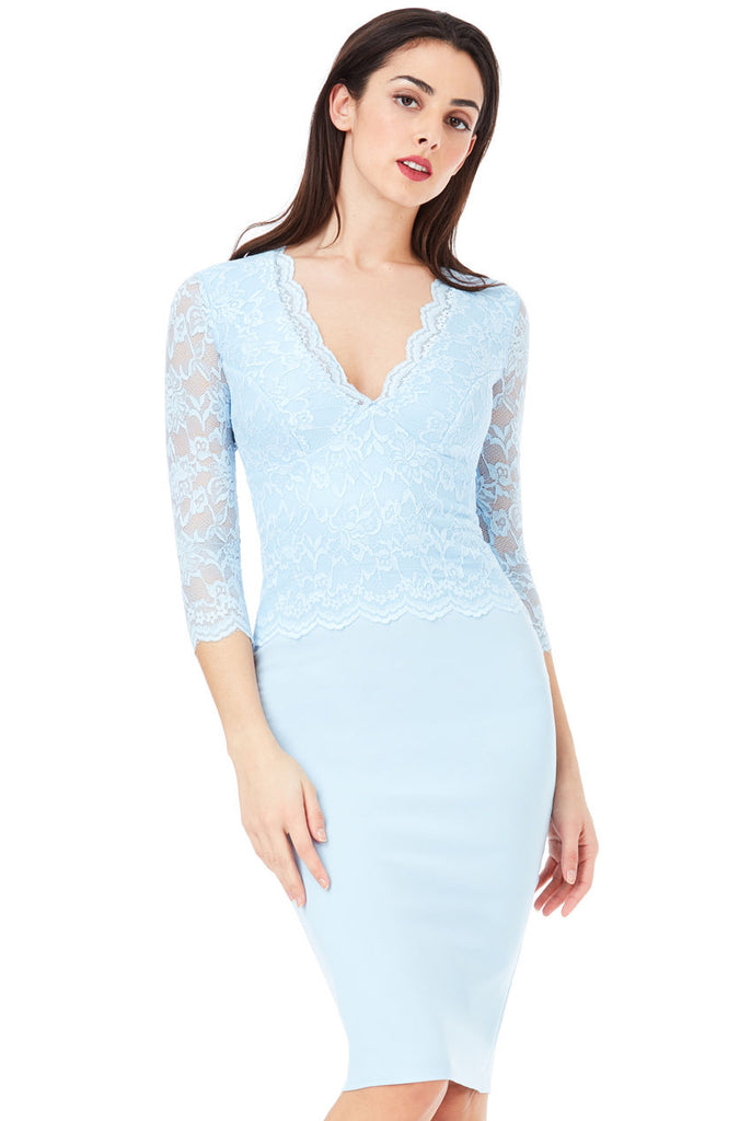 'Women''s POWDER BLUE V-Neck LACE OVERLAY 3/4 Sleeve MIDI DRESS  '