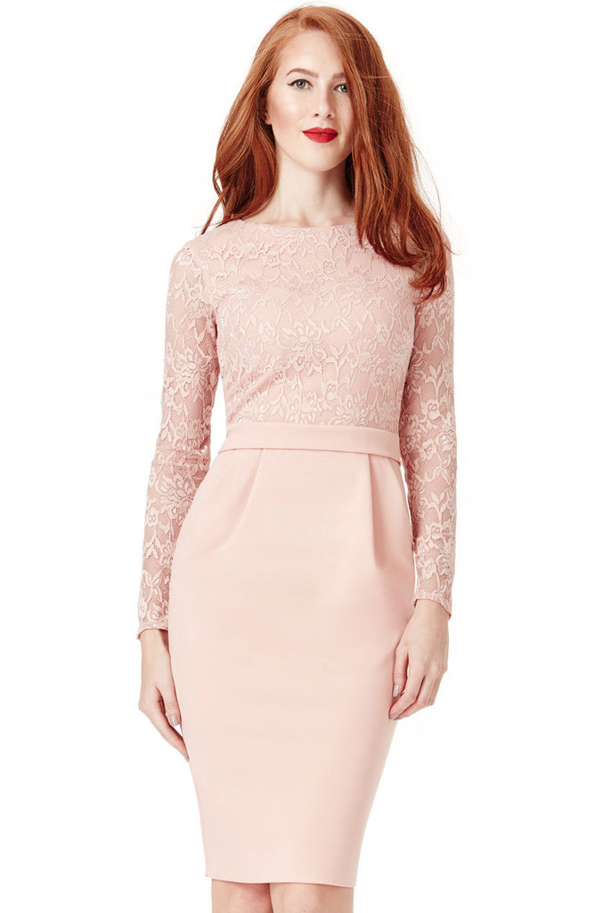 'Women''s NUDE Long Sleeve LACE OVERLAY MIDI DRESS  '