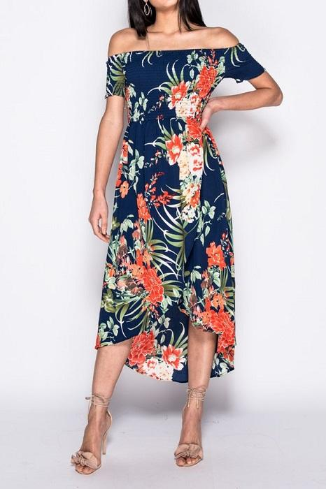 Navy Tropical Floral Shirring Detail Dress