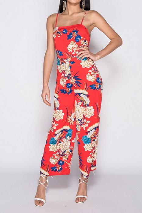 Red Floral Cami Wide Leg Jumpsuit