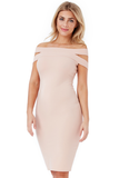 Nude Double Bardot Midi Dress