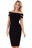 Black Double Bardot Midi Dress