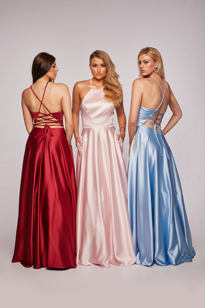 Lulu - Halter Neck Satin Ball Gown With Pockets