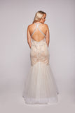 Madeline - Ivory Nude Beaded Fishtail Dress