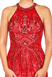 Maya - Red Tulle And Jersey Beaded Fishtail Dress