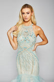 Megan - Sparkling Hand Beaded Crystal Fishtail Dress