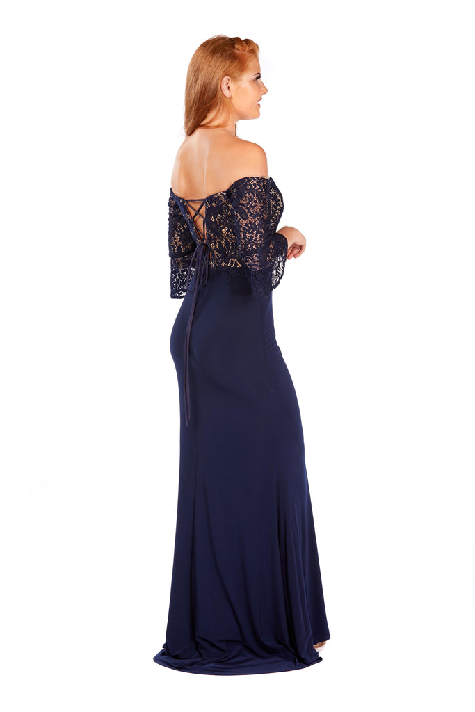 Molly - Midnight Blue Lace And Jersey Dress