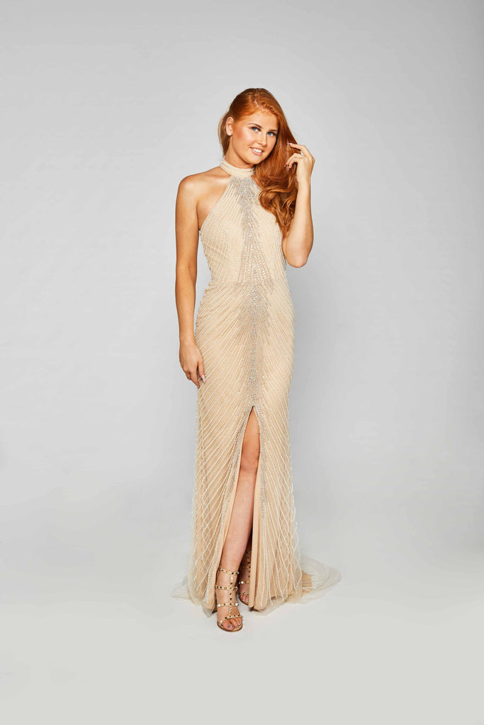 Nora - Champagne Tulle Fishtail Gown With Halter Neckline