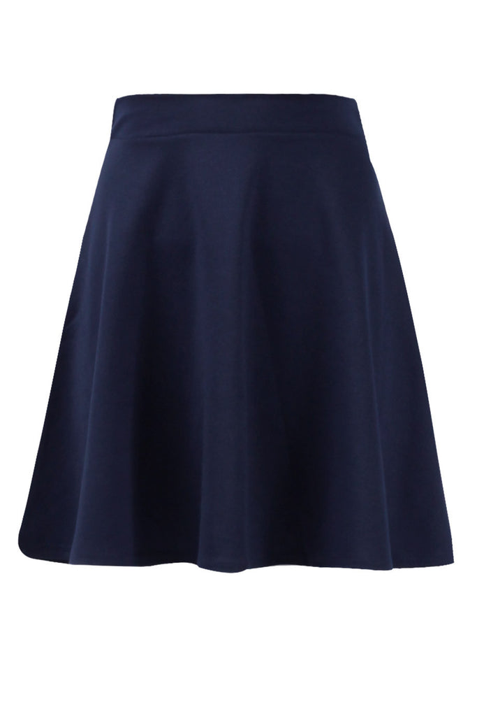 Navy Basic Ponte Skater Skirt