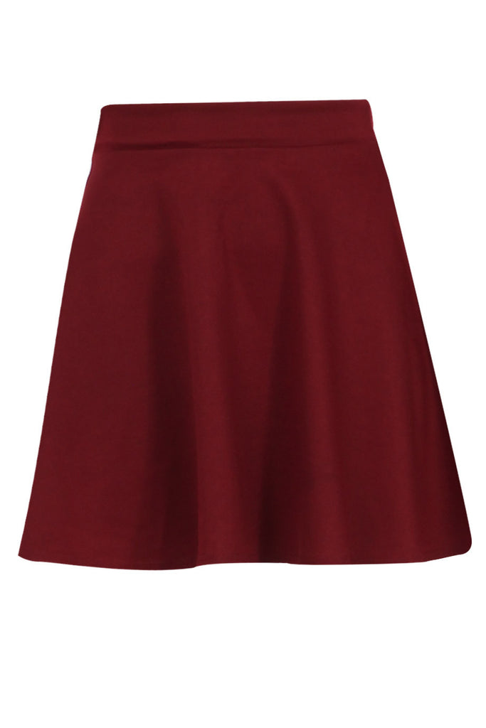Wine Red Basic Ponte Skater Skirt
