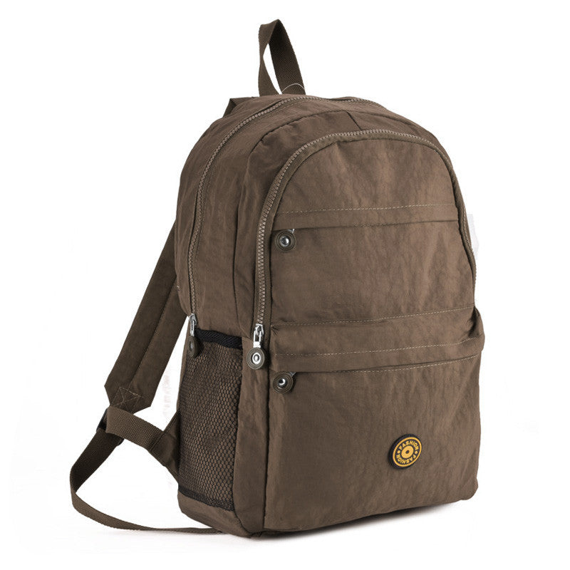 Khaki Casual Nylon Sports Backpack