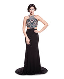 Raine - Beaded Illusion Top With Fitted Black Jersey Skirt