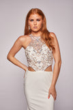 Raine - Beaded Illusion Top With Fitted Jersey Skirt