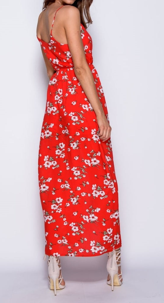 Red Floral Wrap Front Maxi Dress With Shorts