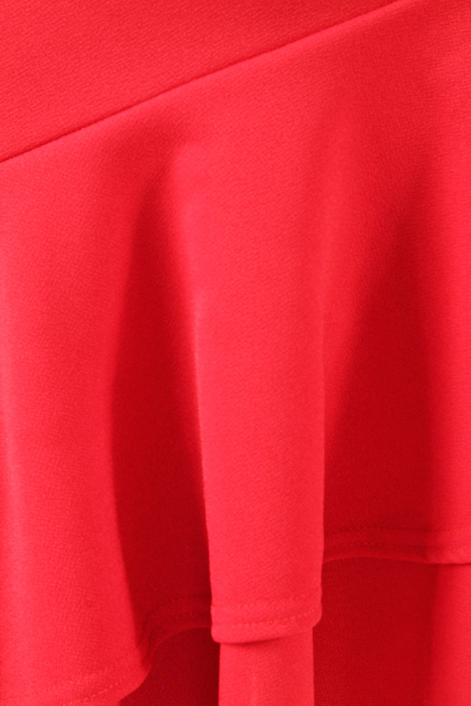 material for the Ruffle Asymmetric Midi Skirt Red