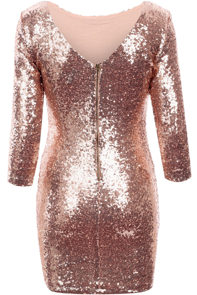 Rose Gold Sequin Bodycon Dress
