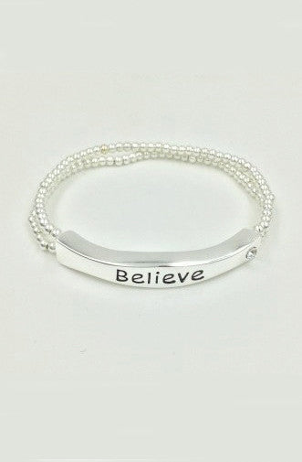 Silver Bead 'Believe' Sentiment Stretch Bracelet