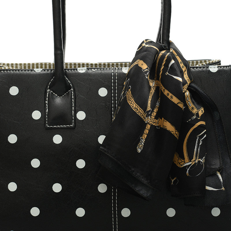 Black Polka Dot Bag Tote Handbag With Scarf