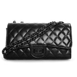 Black Quilted Twist Lock Shoulder Bag