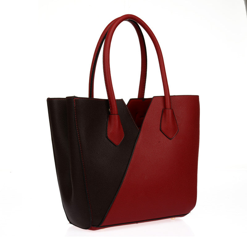 Red V-Shape Patchwork Shoulder Handbag