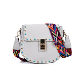 White Rivet Decoration Handbag With Embellished Strap