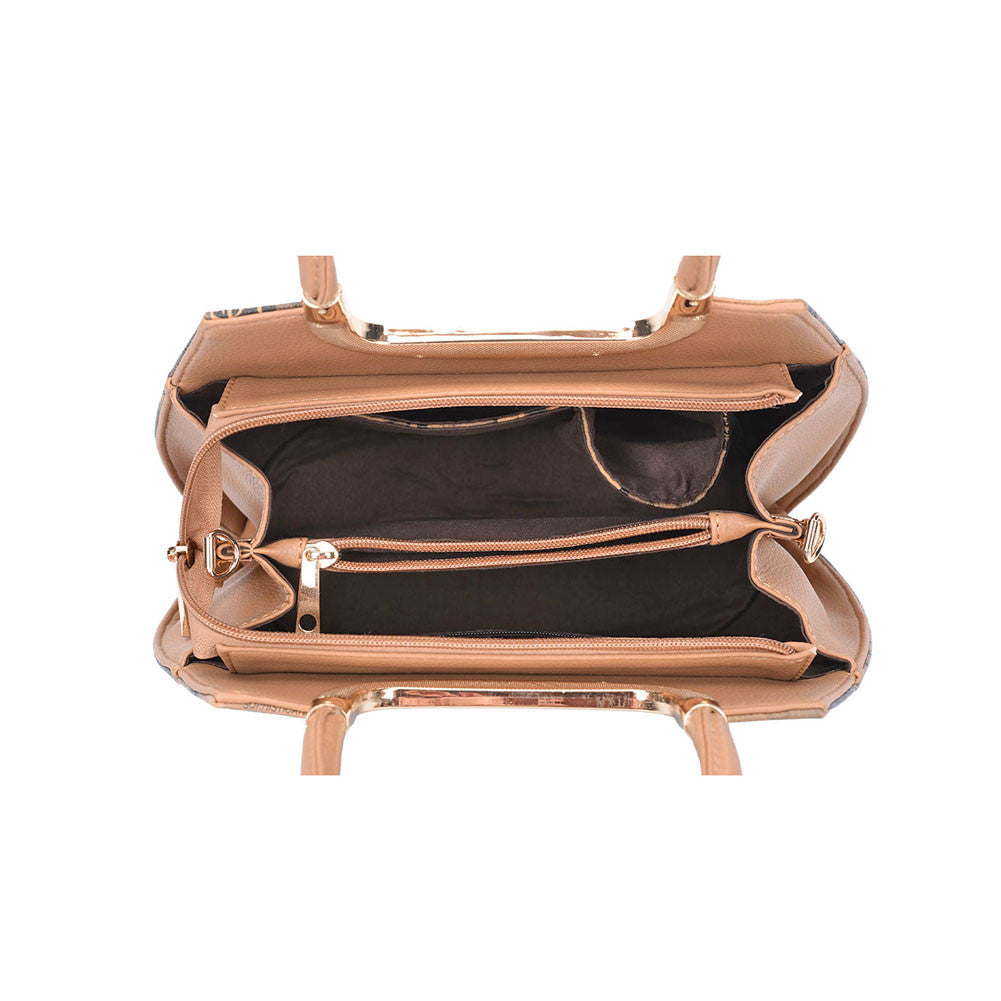 Brown Picture Metal Trims Handbag