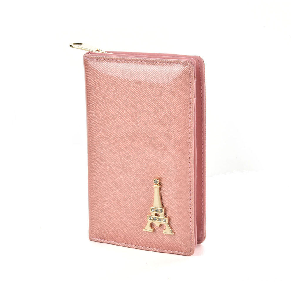 Pink Tower Decoration Solid Small Wallet