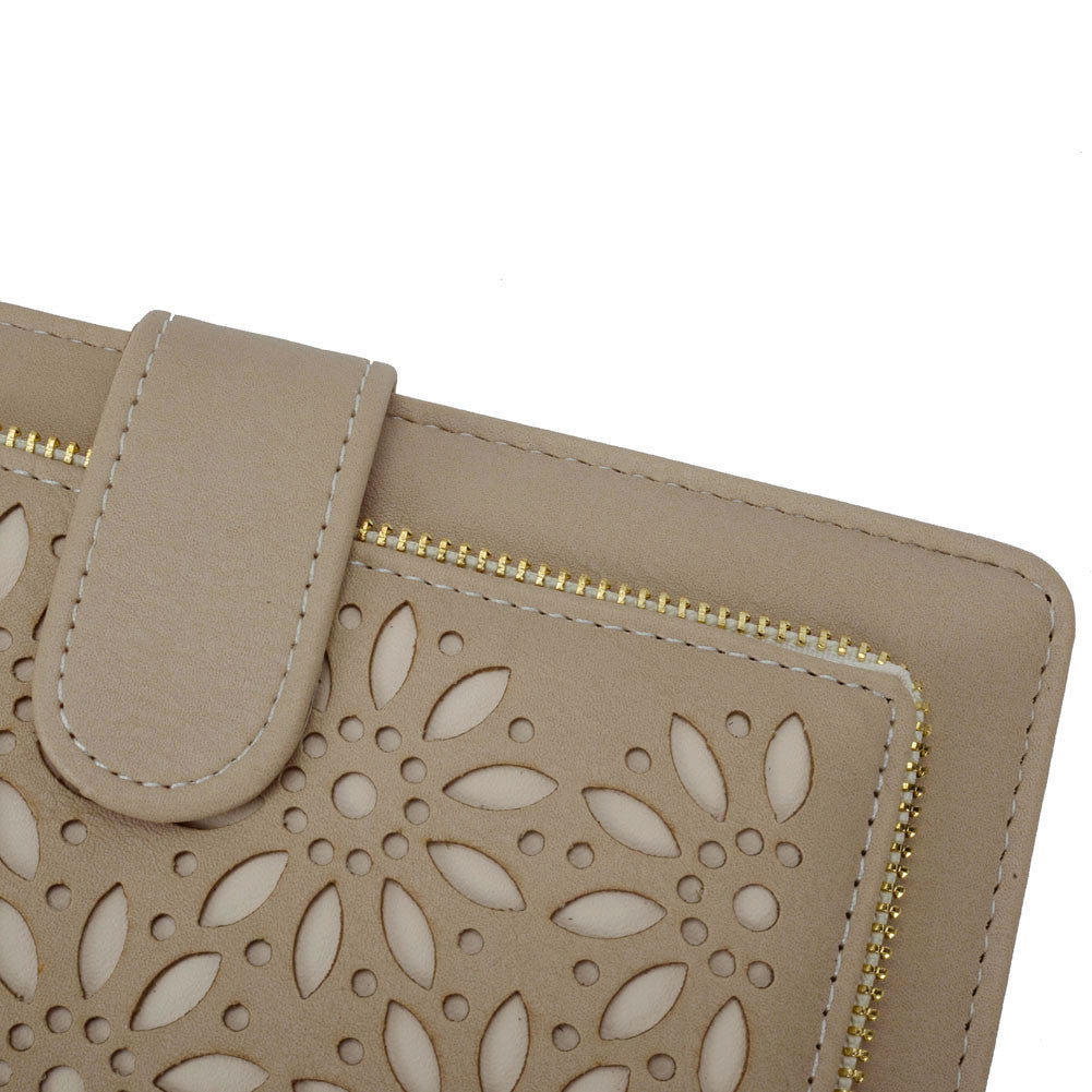 Close up of Beige Hollow Flower Pattern Wallet or Purse