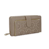 Side of Beige Hollow Flower Pattern Wallet or Purse
