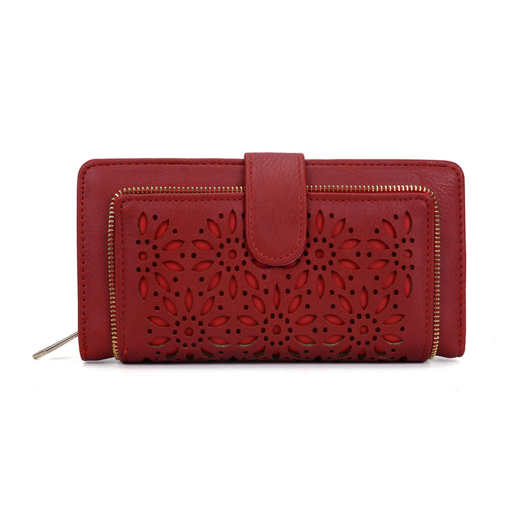 Red Hollow Flower Pattern Wallet/Purse