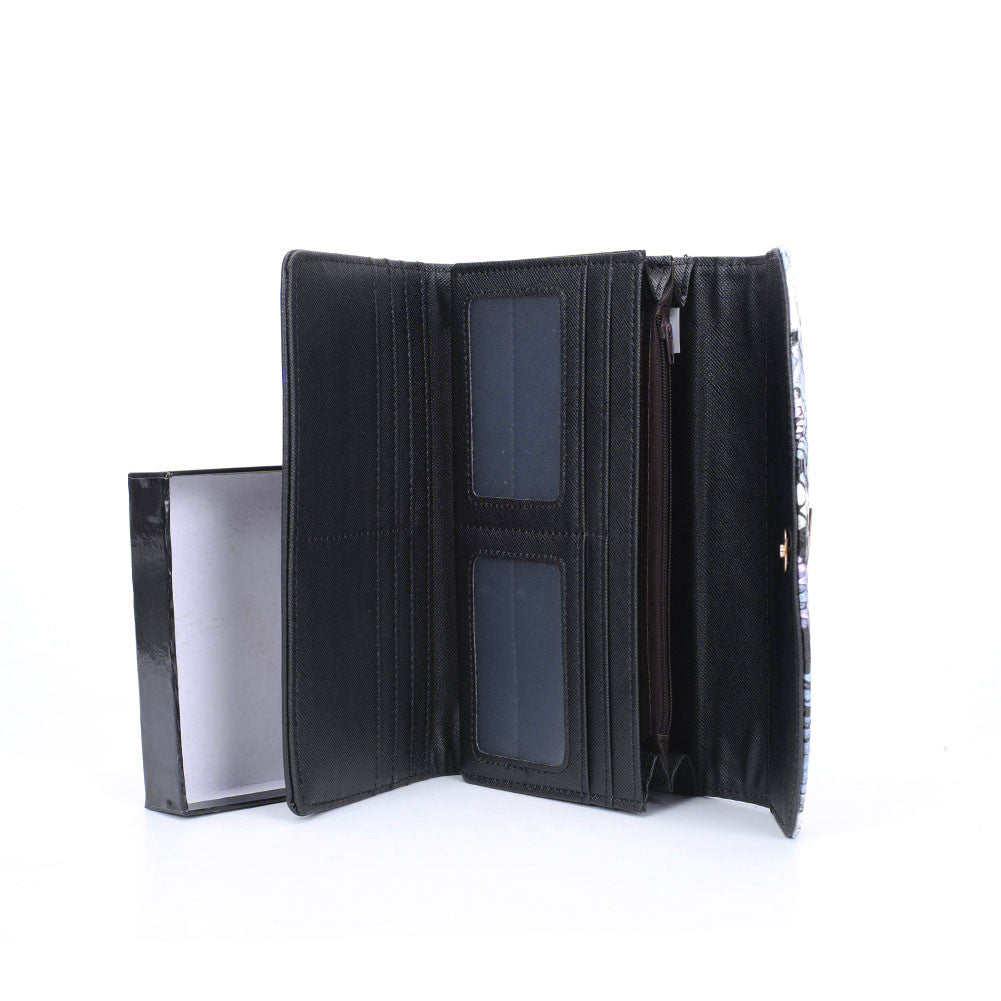 Black Colourful Snakeskin Fashion Wallet/Purse