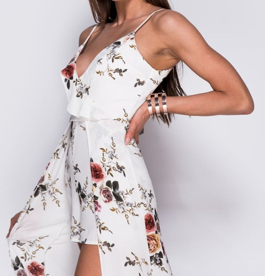 White Floral Frill Front Maxi Dress With Shorts