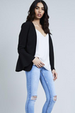 Black Fluted Sleeve Tailored Blazer