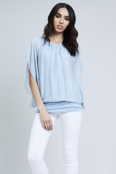 Baby Blue Drop Sleeve Silk Top