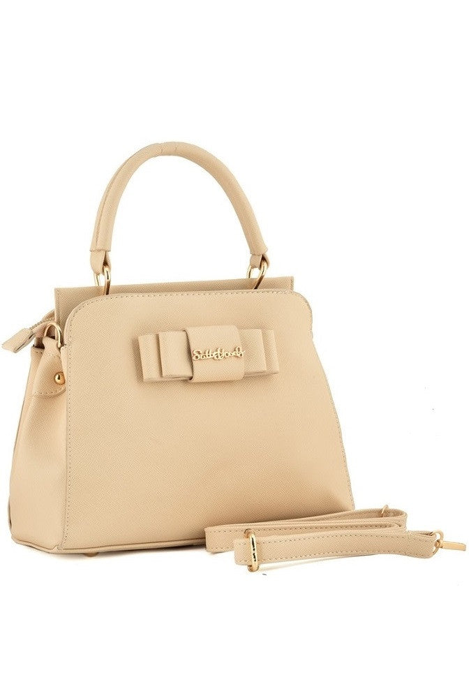 Beige Folded Bow Grab / Shoulder Bag