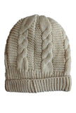 Women's Cable Knit Sherpa Fleece Beanie Hat - Beige