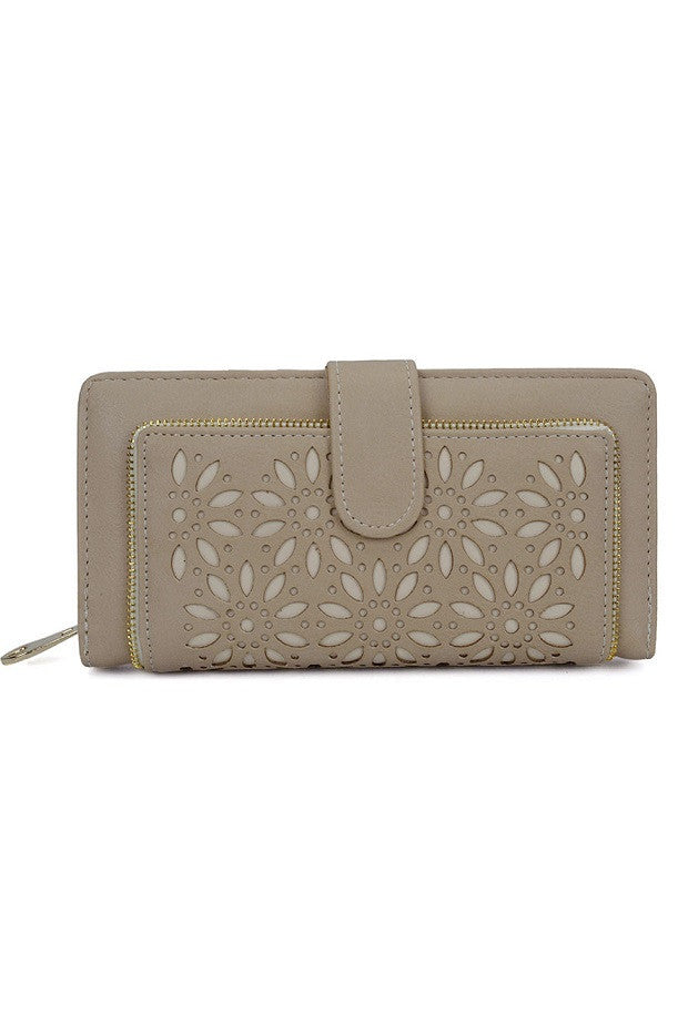 Beige Hollow Flower Pattern Wallet or Purse