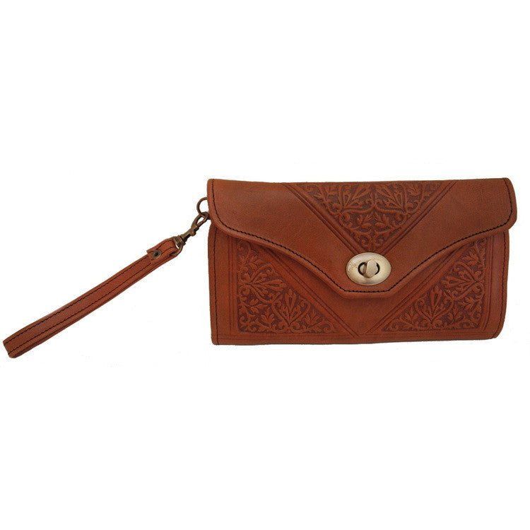 Tan Berber Leather Decorative Moroccan Purse
