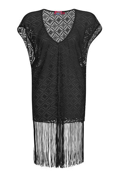 Black Crochet Fringed Kaftan Cover Up