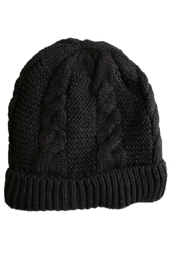 Women's Cable Knit Sherpa Fleece Beanie Hat - Black