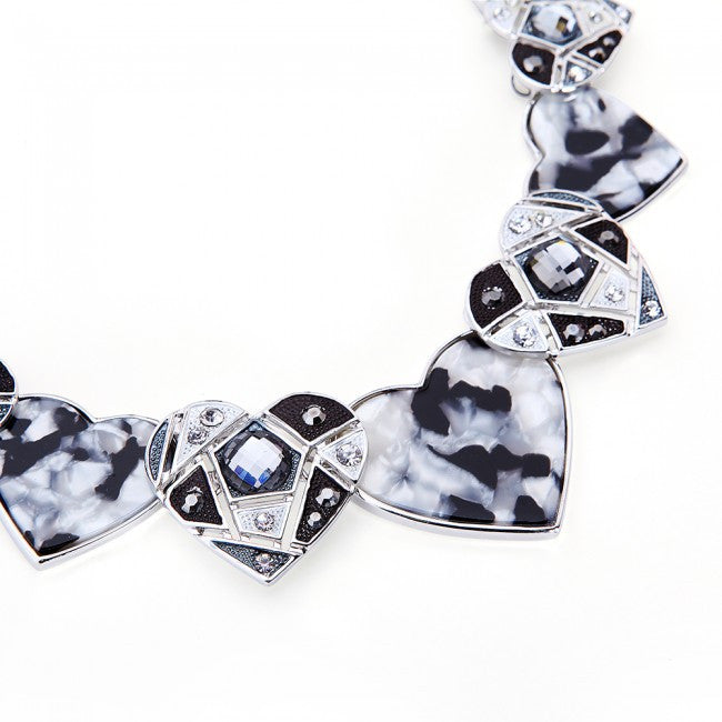 Close up of White & Black Mother Of Pearl Hearts Necklace & Earrings Set