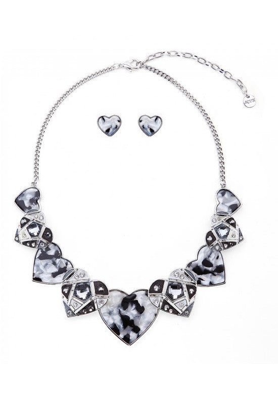 White & Black Mother Of Pearl Hearts Necklace & Earrings Set