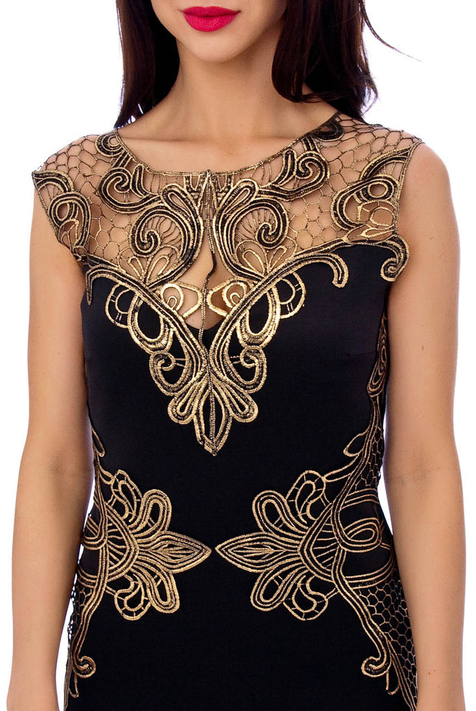 Black Heavy Lace Embroidery Detail Dress