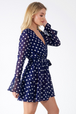 Blue Polka Dot Sheer Bell Sleeve Tier Skirt Tie Dress
