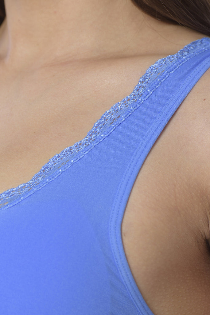 close up of blue lace comfort bra