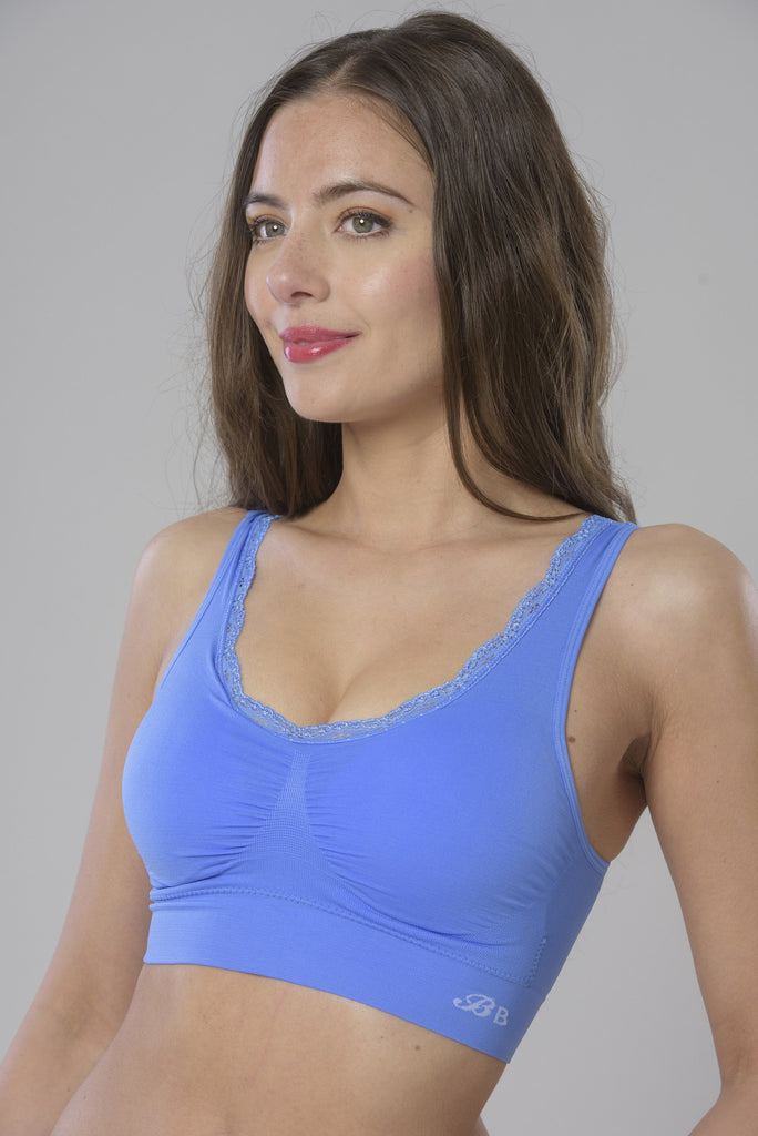 Blue Lace Comfort Bra from the side