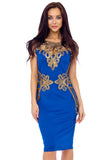 Royal Blue Heavy Lace Embroidery Detail Dress