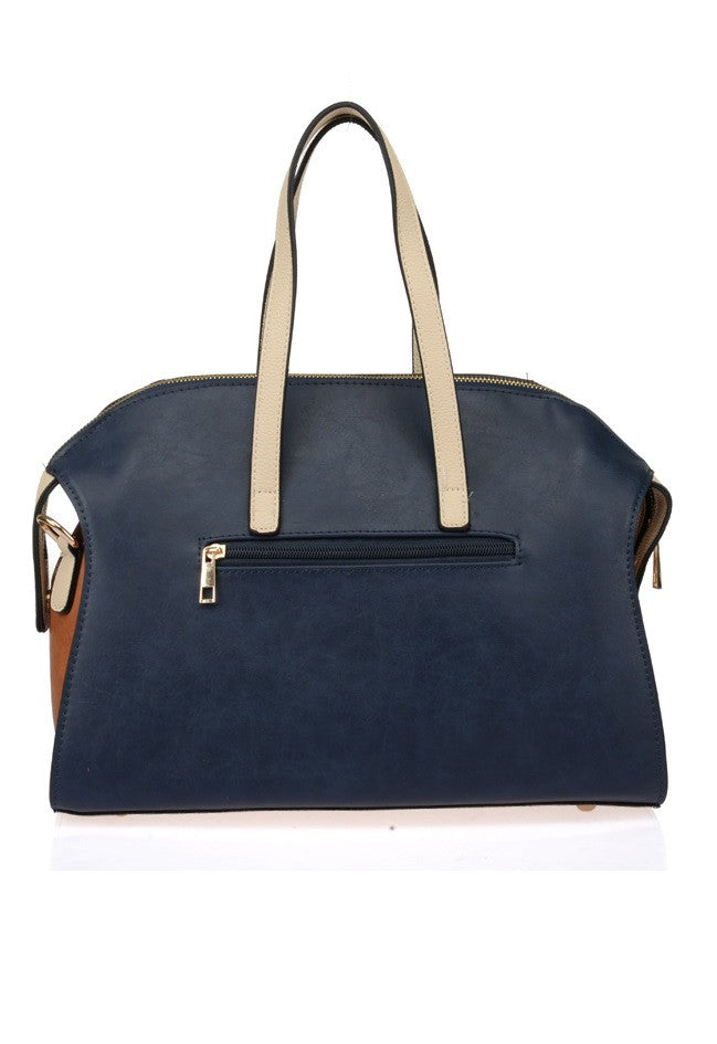 Blue Patchwork & Rivets Grab / Shoulder Bag